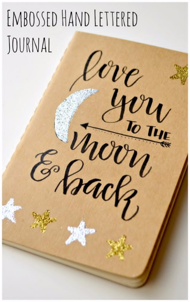 Inexpensive Dollar Store DIY Gifts for Girls - Embossed Hand Lettered Journal - Cute Crafts and DIY Projects that Make Cool DYI Gift Ideas for Young and Older Girls, Teens and Teenagers - Awesome Room and Home Decor for Bedroom, Fashion, Jewelry and Hair Accessories - Cheap Craft Projects To Make For a Girl -DIY Christmas Presents for Tweens #diygifts #girlsgifts