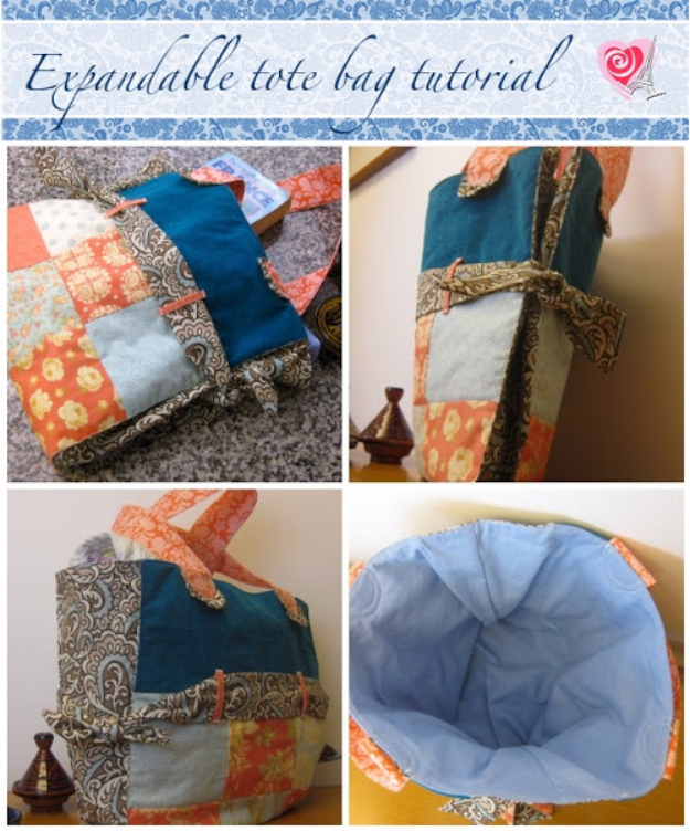 Best Quilting Projects for DIY Gifts - Expandable Tote Bag - Things You Can Quilt and Sew for Friends, Family and Christmas Gift Ideas - Easy and Quick Quilting Patterns for Presents To Give At Holidays, Birthdays and Baby Gifts. Step by Step Tutorials and Instructions