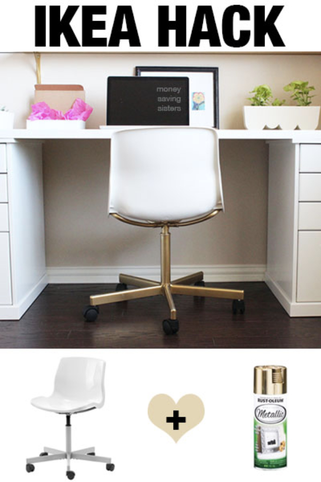 Best IKEA Hacks and DIY Hack Ideas for Furniture Projects and Home Decor from IKEA - Expensive Looking Office Chair IKEA Hack - Creative IKEA Hack Tutorials for DIY Platform Bed, Desk, Vanity, Dresser, Coffee Table, Storage and Kitchen, Bedroom and Bathroom Decor #ikeahacks #diy
