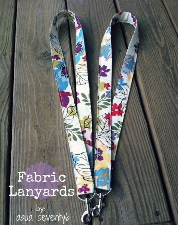DIY Gifts To Sew For Friends - Fabric Lanyards - Quick and Easy Sewing Projects and Free Patterns for Best Gift Ideas and Presents - Creative Step by Step Tutorials for Beginners - Cute Home Decor, Accessories, Kitchen Crafts and DIY Fashion Ideas #diy #crafts #sewing