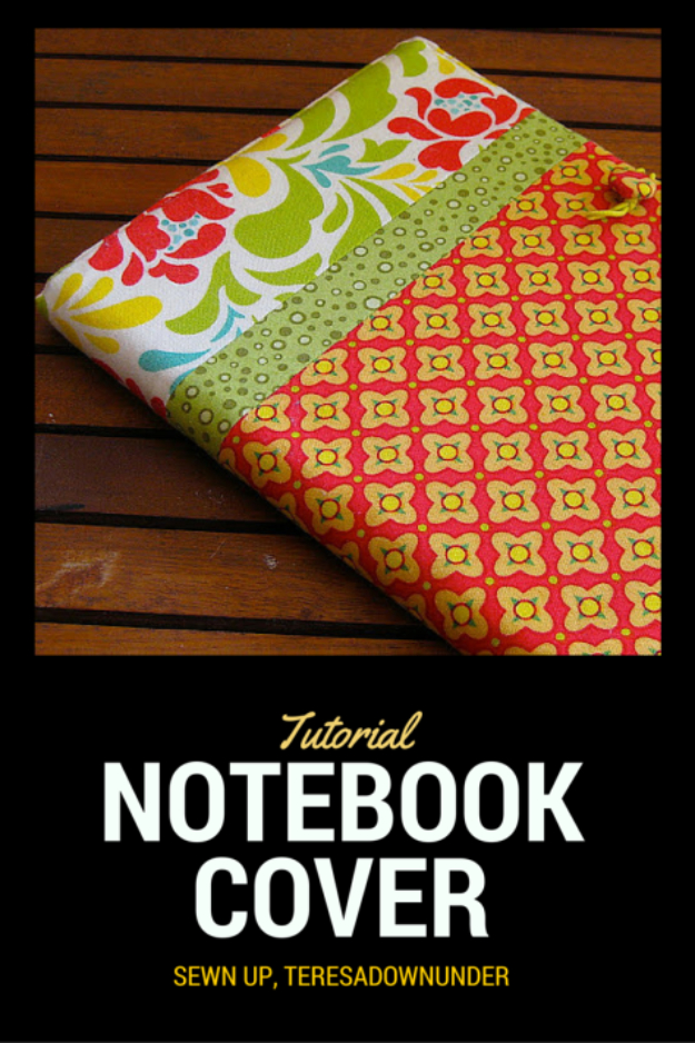 DIY Gifts To Sew For Friends - Fabric Notebook Cover - Quick and Easy Sewing Projects and Free Patterns for Best Gift Ideas and Presents - Creative Step by Step Tutorials for Beginners - Cute Home Decor, Accessories, Kitchen Crafts and DIY Fashion Ideas #diy #crafts #sewing