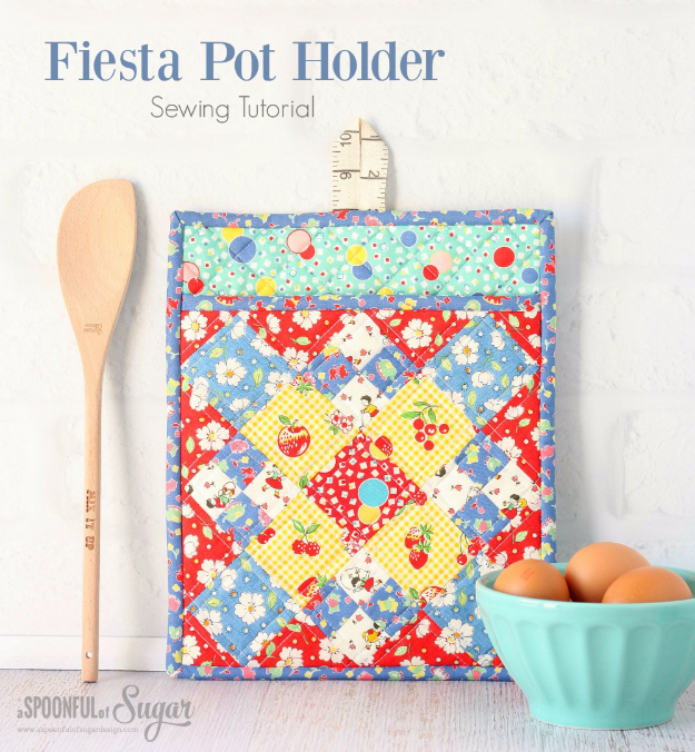 DIY Gifts To Sew For Friends - Fiesta Pot Holder - Quick and Easy Sewing Projects and Free Patterns for Best Gift Ideas and Presents - Creative Step by Step Tutorials for Beginners - Cute Home Decor, Accessories, Kitchen Crafts and DIY Fashion Ideas #diy #crafts #sewing