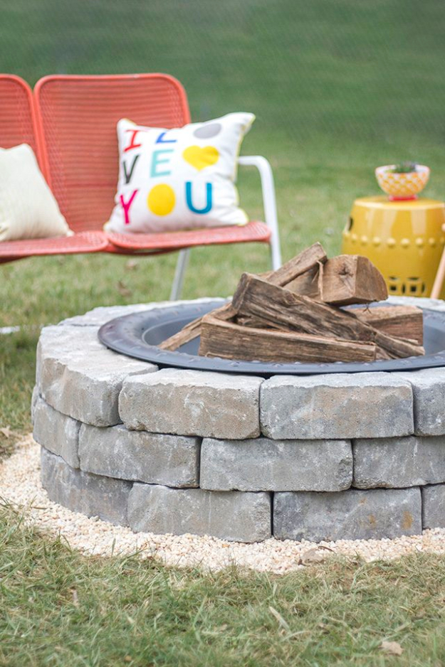 DIY Fireplace Ideas - Fire Pit With Landscape Wall Stones - Do It Yourself Firepit Projects and Fireplaces for Your Yard, Patio, Porch and Home. Outdoor Fire Pit Tutorials for Backyard with Easy Step by Step Tutorials - Cool DIY Projects for Men #diyideas #outdoors #diy