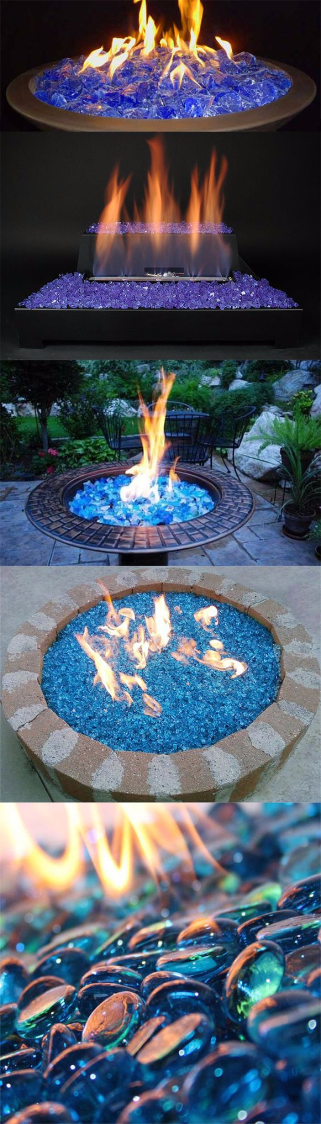 DIY Fireplace Ideas - Fireglass Ice On Fire - Do It Yourself Firepit Projects and Fireplaces for Your Yard, Patio, Porch and Home. Outdoor Fire Pit Tutorials for Backyard with Easy Step by Step Tutorials - Cool DIY Projects for Men #diyideas #outdoors #diy