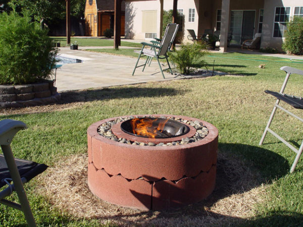 DIY Fireplace Ideas - Firepit Using Concrete Tree Rings - Do It Yourself Firepit Projects and Fireplaces for Your Yard, Patio, Porch and Home. Outdoor Fire Pit Tutorials for Backyard with Easy Step by Step Tutorials - Cool DIY Projects for Men #diyideas #outdoors #diy