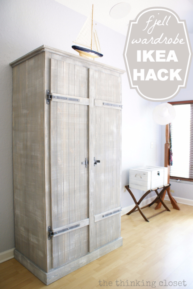 Best IKEA Hacks and DIY Hack Ideas for Furniture Projects and Home Decor from IKEA - Fjell Wardrobe IKEA Hack - Creative IKEA Hack Tutorials for DIY Platform Bed, Desk, Vanity, Dresser, Coffee Table, Storage and Kitchen, Bedroom and Bathroom Decor #ikeahacks #diy