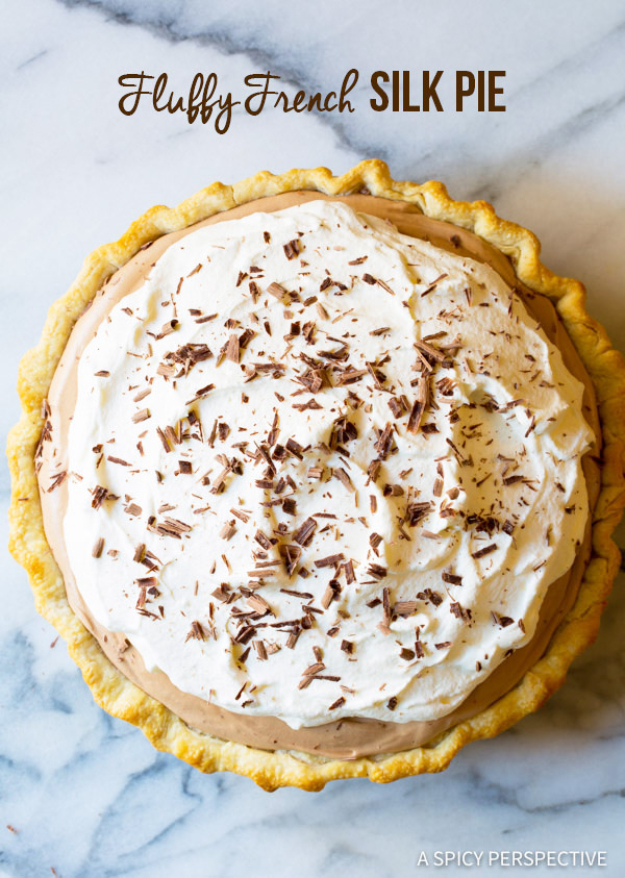 Best Pie Recipes - Fluffy French Silk Pie - Easy Pie Recipes From Scratch for Pecan, Apple, Banana, Pumpkin, Fruit, Peach and Chocolate Pies. Yummy Graham Cracker Crusts and Homemade Meringue - Thanksgiving and Christmas Pies and Mason Jar Pie Recipes http://diyjoy.com/best-pie-recipes