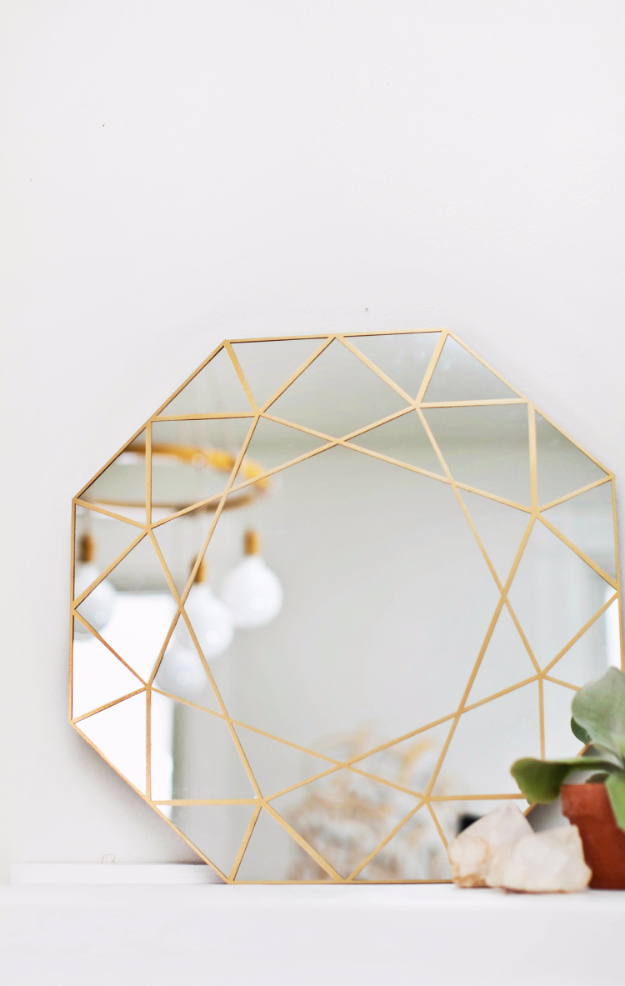 DIY Mirrors - Gem Mirror DIY - Best Do It Yourself Mirror Projects and Cool Crafts Using Mirrors - Home Decor, Bedroom Decor and Bath Ideas - Step By Step Tutorials With Instructions