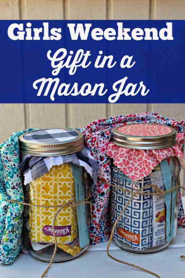 Best DIY Gifts in Mason Jars - Girls Weekend Gift in a Mason Jar - Cute Mason Jar Crafts and Recipe Ideas that Make Great DIY Christmas Presents for Friends and Family - Gifts for Her, Him, Mom and Dad - Gifts in A Jar That Are Easy, Quick and Cheap http://diyjoy.com/best-diy-mason-jar-gifts
