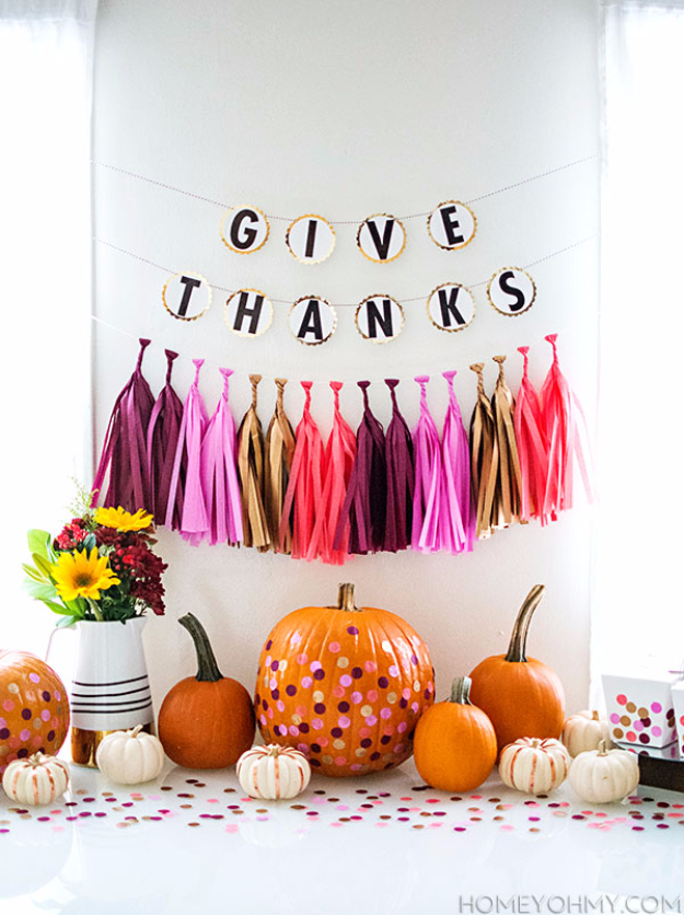 DIY Thanksgiving Decor Ideas - Give Thanks Banner - Fall Projects and Crafts for Thanksgiving Dinner Centerpieces, Vases, Arrangements With Leaves and Pumpkins - Easy and Cheap Crafts to Make for Home Decor #diy