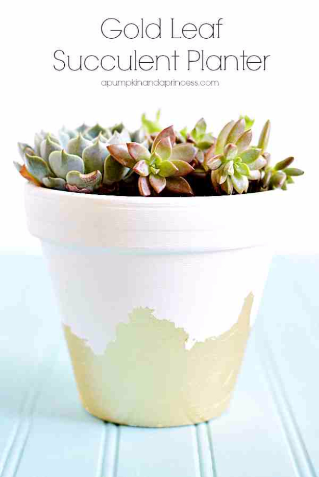 Best DIY Gifts for Girls - Gold Leaf Succulent Planter - Cute Crafts and DIY Projects that Make Cool DYI Gift Ideas for Young and Older Girls, Teens and Teenagers - Awesome Room and Home Decor for Bedroom, Fashion, Jewelry and Hair Accessories - Cheap Craft Projects To Make For a Girl -DIY Christmas Presents for Tweens #diygifts #girlsgifts