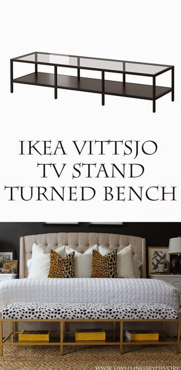 Best IKEA Hacks and DIY Hack Ideas for Furniture Projects and Home Decor from IKEA - Gold Upholstered Bench Tutorial - Creative IKEA Hack Tutorials for DIY Platform Bed, Desk, Vanity, Dresser, Coffee Table, Storage and Kitchen, Bedroom and Bathroom Decor #ikeahacks #diy