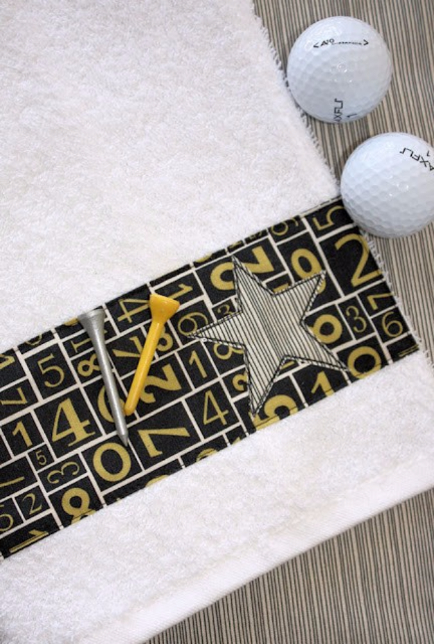 DIY Gifts for Dad - Golf Towel Tutorial - Best Craft Projects and Gift Ideas You Can Make for Your Father - Last Minute Presents for Birthday and Christmas - Creative Photo Projects, Gift Card Holders, Gift Baskets and Thoughtful Things to Give Fathers and Dads #diygifts #dad #dadgifts #fathersday