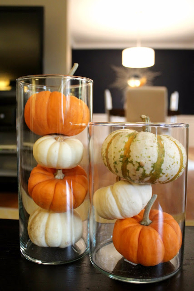 DIY Thanksgiving Decor Ideas - Gourd Table Display - Fall Projects and Crafts for Thanksgiving Dinner Centerpieces, Vases, Arrangements With Leaves and Pumpkins - Easy and Cheap Crafts to Make for Home Decor #diy