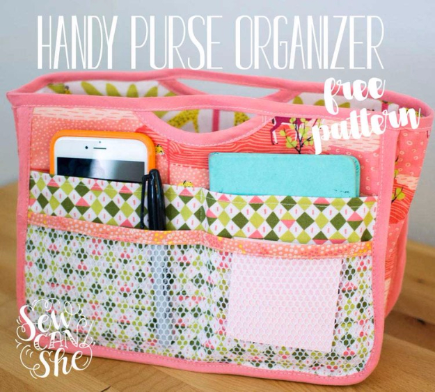 DIY Gifts To Sew For Friends - Handy Purse Organizer - Quick and Easy Sewing Projects and Free Patterns for Best Gift Ideas and Presents - Creative Step by Step Tutorials for Beginners - Cute Home Decor, Accessories, Kitchen Crafts and DIY Fashion Ideas #diy #crafts #sewing