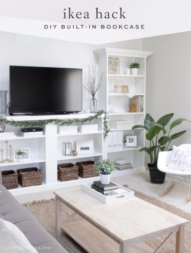 Best IKEA Hacks and DIY Hack Ideas for Furniture Projects and Home Decor from IKEA - IKEA Hack DIY Built In Bookcase - Creative IKEA Hack Tutorials for DIY Platform Bed, Desk, Vanity, Dresser, Coffee Table, Storage and Kitchen, Bedroom and Bathroom Decor #ikeahacks #diy