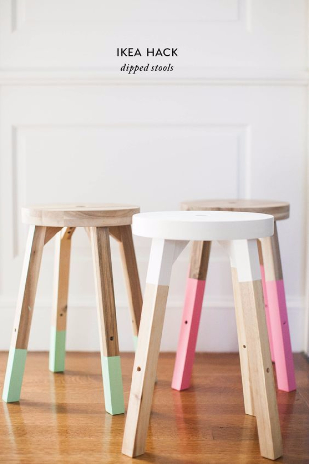 Best IKEA Hacks and DIY Hack Ideas for Furniture Projects and Home Decor from IKEA - IKEA Hack Dipped Stools - Creative IKEA Hack Tutorials for DIY Platform Bed, Desk, Vanity, Dresser, Coffee Table, Storage and Kitchen, Bedroom and Bathroom Decor http://diyjoy.com/best-ikea-hacks