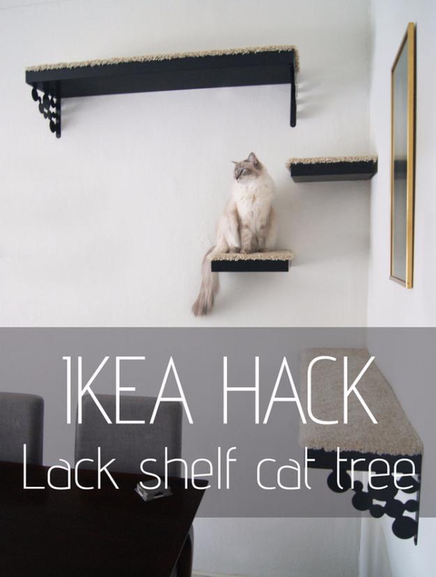 75 More IKEA Hacks That Will Blow You Away DIY Joy : IKEA Hack Lack Shelf Cat Tree from diyjoy.com size 625 x 826 jpeg 408kB