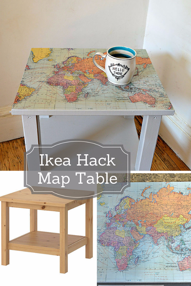 Best IKEA Hacks and DIY Hack Ideas for Furniture Projects and Home Decor from IKEA - IKEA Hack Map Table - Creative IKEA Hack Tutorials for DIY Platform Bed, Desk, Vanity, Dresser, Coffee Table, Storage and Kitchen, Bedroom and Bathroom Decor #ikeahacks #diy