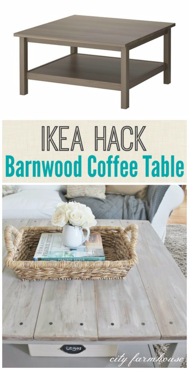 Best IKEA Hacks and DIY Hack Ideas for Furniture Projects and Home Decor from IKEA - IKEA Hacked Barnboard Coffee Table - Creative IKEA Hack Tutorials for DIY Platform Bed, Desk, Vanity, Dresser, Coffee Table, Storage and Kitchen, Bedroom and Bathroom Decor #ikeahacks #diy