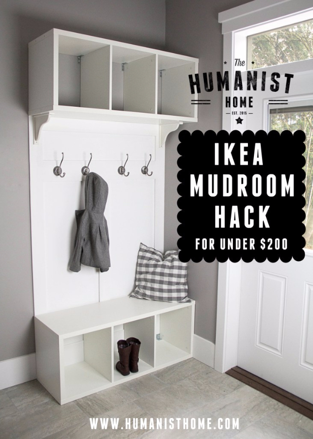 Best IKEA Hacks and DIY Hack Ideas for Furniture Projects and Home Decor from IKEA - IKEA Mudroom Hack - Creative IKEA Hack Tutorials for DIY Platform Bed, Desk, Vanity, Dresser, Coffee Table, Storage and Kitchen, Bedroom and Bathroom Decor #ikeahacks #diy