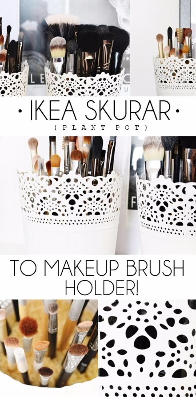 Best IKEA Hacks and DIY Hack Ideas for Furniture Projects and Home Decor from IKEA - IKEA Plant Pots To Make Up Brush Holder - Creative IKEA Hack Tutorials for DIY Platform Bed, Desk, Vanity, Dresser, Coffee Table, Storage and Kitchen, Bedroom and Bathroom Decor #ikeahacks #diy
