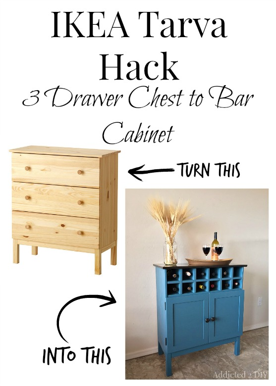 Best IKEA Hacks and DIY Hack Ideas for Furniture Projects and Home Decor from IKEA - IKEA Tarva Hack 3 Drawer Chest To Bar Cabinet - Creative IKEA Hack Tutorials for DIY Platform Bed, Desk, Vanity, Dresser, Coffee Table, Storage and Kitchen, Bedroom and Bathroom Decor #ikeahacks #diy