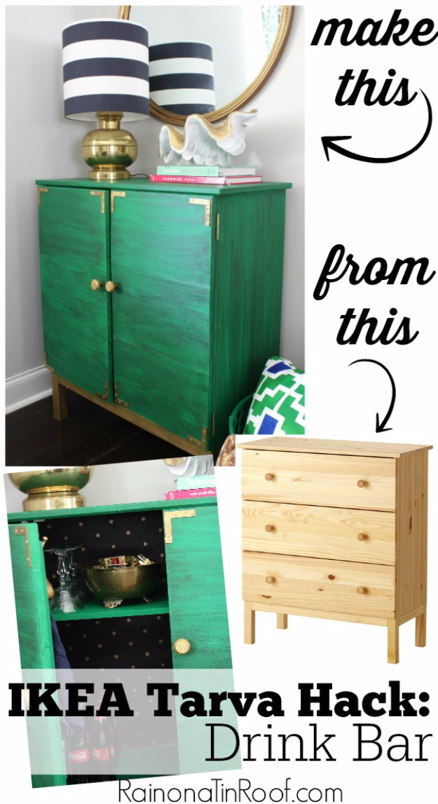 Best IKEA Hacks and DIY Hack Ideas for Furniture Projects and Home Decor from IKEA - IKEA Tarva Hack Drink Bar - Creative IKEA Hack Tutorials for DIY Platform Bed, Desk, Vanity, Dresser, Coffee Table, Storage and Kitchen, Bedroom and Bathroom Decor #ikeahacks #diy