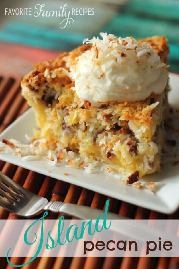 Best Pie Recipes - Island Pecan Pie - Easy Pie Recipes From Scratch for Pecan, Apple, Banana, Pumpkin, Fruit, Peach and Chocolate Pies. Yummy Graham Cracker Crusts and Homemade Meringue - Thanksgiving and Christmas Pies and Mason Jar Pie Recipes http://diyjoy.com/best-pie-recipes