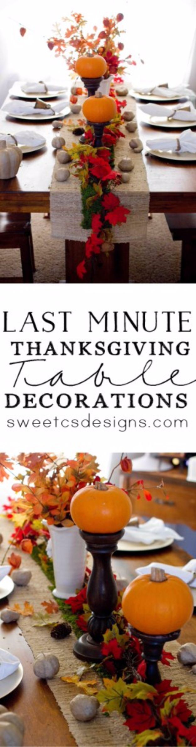Best Thanksgiving Centerpieces and Table Decor - Last Minute Thanksgiving Table Decorations - Creative Crafts for Your Thanksgiving Dinner Table. Mason Jars, Flowers, Leaves, Candles, Pumpkin Ideas #thanksgiving #diy