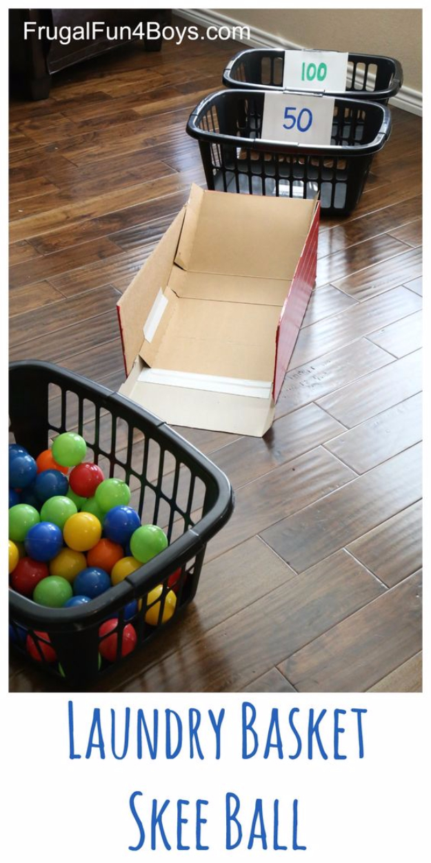 Crafts For Kids To Make At Home - Laundry Basket Skee Ball - Cheap DIY Projects and Fun Craft Ideas for Children - Cute Paper Crafts, Fall and Winter Fun, Things For Toddlers, Babies, Boys and Girls #kidscrafts #crafts #kids