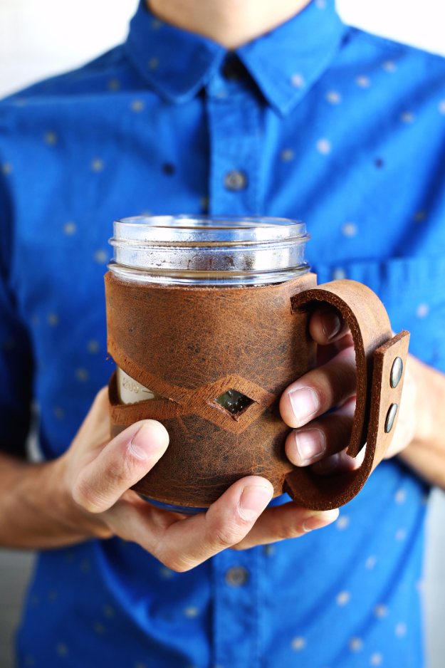 DIY Gifts for Dad - Leather Mason Jar Sleeve - Best Craft Projects and Gift Ideas You Can Make for Your Father - Last Minute Presents for Birthday and Christmas - Creative Photo Projects, Gift Card Holders, Gift Baskets and Thoughtful Things to Give Fathers and Dads #diygifts #dad #dadgifts #fathersday
