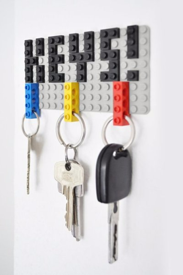 Lego Key DIY Gifts for Dad - Lego Key Organizer - Best Craft Projects and Gift Ideas You Can Make for Your Father - Last Minute Presents for Birthday and Christmas - Creative Photo Projects, Gift Card Holders, Gift Baskets and Thoughtful Things to Give Fathers and Dads #diygifts #dad #dadgifts #fathersday