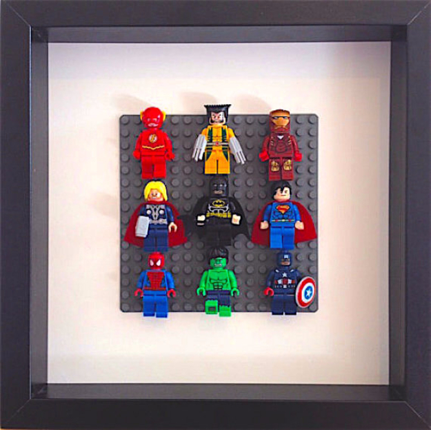 DIY Room Decor for Boys - Lego Super Heroes Framed Wall Art - Best Creative Bedroom Ideas for Boy Rooms - Wall Art, Lamps, Rugs, Lamps, Beds, Bedding and Furniture You Can Make for Teens, Tweens and Teenagers #diy #homedecor #boys