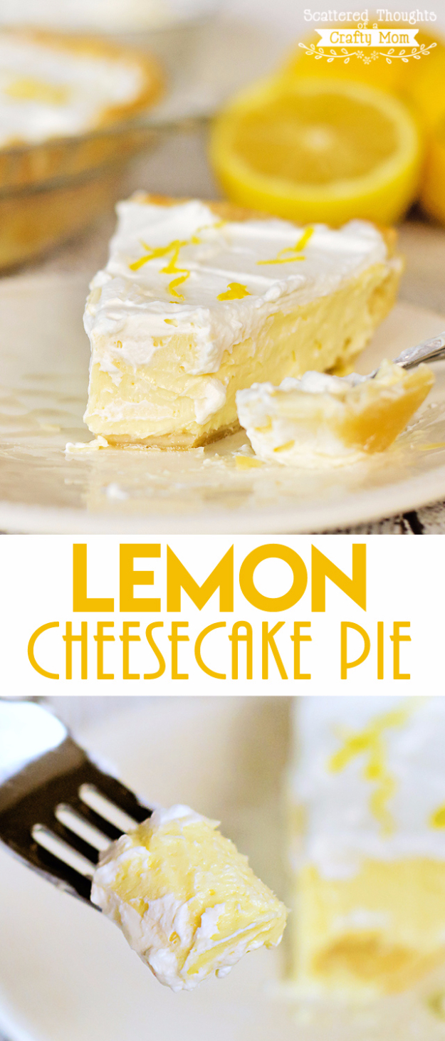 Best Pie Recipes - Lemon Cheesecake Pie - Easy Pie Recipes From Scratch for Pecan, Apple, Banana, Pumpkin, Fruit, Peach and Chocolate Pies. Yummy Graham Cracker Crusts and Homemade Meringue #recipes #dessert
