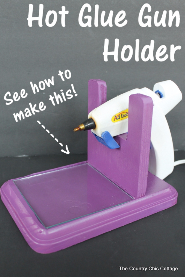 DIY Crafting Hacks - Make A Hot Glue Gun Holder - Easy Crafting Ideas for Quick DIY Projects - Awesome Creative, Crafty Ways for Dollar Store, Organizing, Yarn, Scissors and Pom Poms