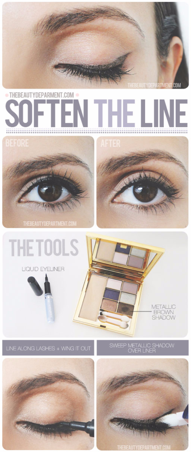 DIY Beauty Hacks - Make A Softer Line - Cool Tips for Makeup, Hair and Nails - Step by Step Tutorials for Fixing Broken Makeup, Eye Shadow, Mascara, Foundation - Quick Beauty Ideas for Best Looks in A Hurry #beautyhacks #makeup