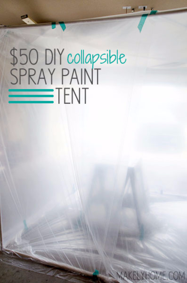 DIY Crafting Hacks - Make A Spray Paint Tent - Easy Crafting Ideas for Quick DIY Projects - Awesome Creative, Crafty Ways for Dollar Store, Organizing, Yarn, Scissors and Pom Poms
