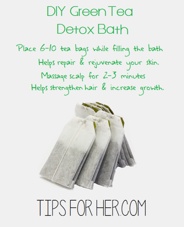 DIY Beauty Hacks - Make Your Own Green Tea Detox Bath - Cool Tips for Makeup, Hair and Nails - Step by Step Tutorials for Fixing Broken Makeup, Eye Shadow, Mascara, Foundation - Quick Beauty Ideas for Best Looks in A Hurry #beautyhacks #makeup