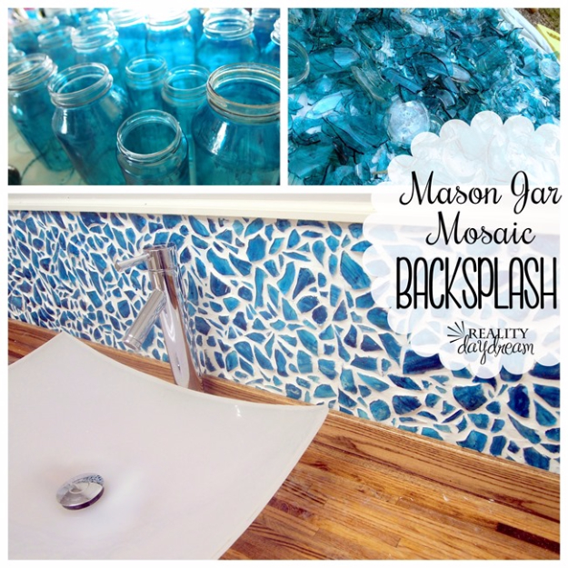 DIY Projects Made With Broken Tile - Mason Jar Mosaic Backsplash Tutorial - Best Creative Crafts, Easy DYI Projects You Can Make With Tiles - Mosaic Patterns and Crafty DIY Home Decor Ideas That Make Awesome DIY Gifts and Christmas Presents for Friends and Family http://diyjoy.com/diy-projects-broken-tile
