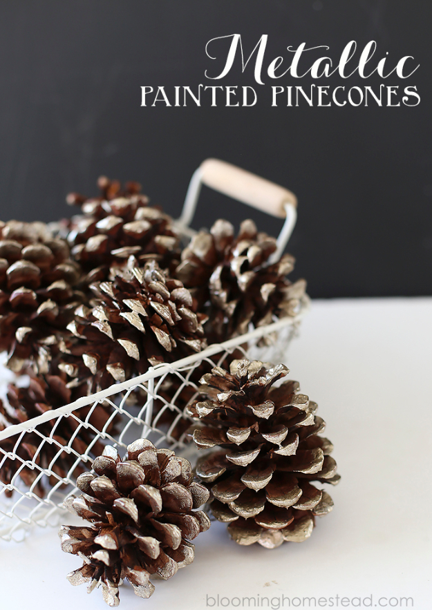 DIY Thanksgiving Decor Ideas - Metallic Painted Pinecones - Fall Projects and Crafts for Thanksgiving Dinner Centerpieces, Vases, Arrangements With Leaves and Pumpkins - Easy and Cheap Crafts to Make for Home Decor #diy