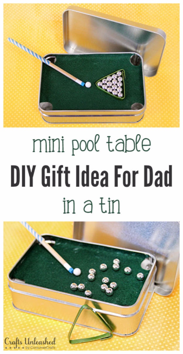 DIY Gifts for Dad - Mini Pool Table in a Tin - Best Craft Projects and Gift Ideas You Can Make for Your Father - Last Minute Presents for Birthday and Christmas - Creative Photo Projects, Gift Card Holders, Gift Baskets and Thoughtful Things to Give Fathers and Dads #diygifts #dad #dadgifts #fathersday