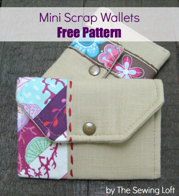 DIY Gifts To Sew For Friends - Mini Scrap Wallets - Quick and Easy Sewing Projects and Free Patterns for Best Gift Ideas and Presents - Creative Step by Step Tutorials for Beginners - Cute Home Decor, Accessories, Kitchen Crafts and DIY Fashion Ideas #diy #crafts #sewing