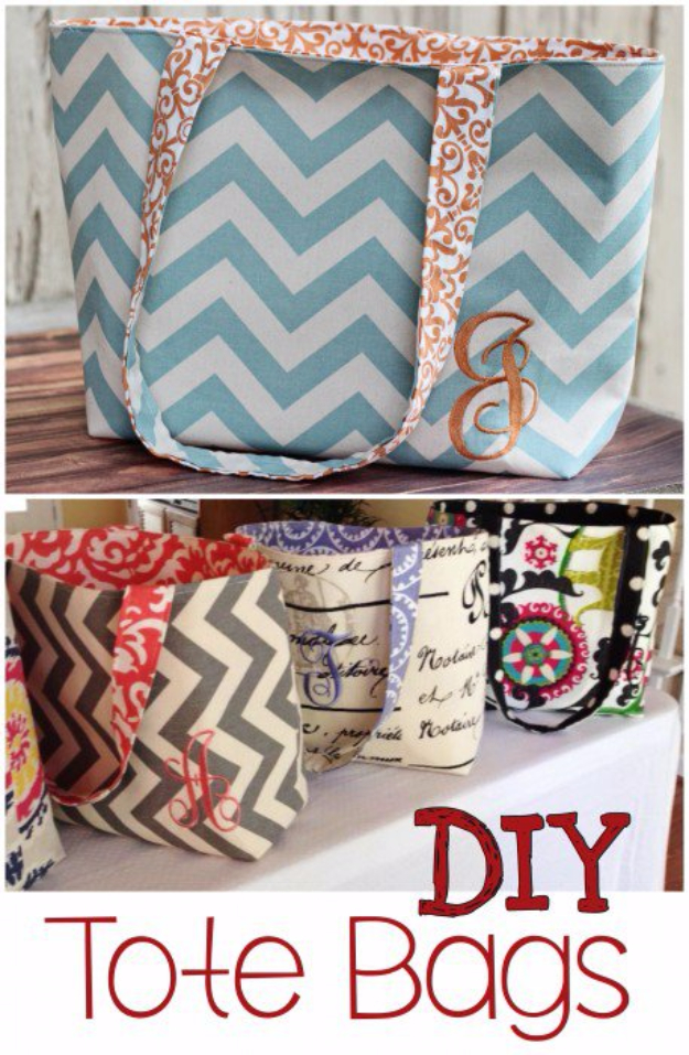 DIY Gifts To Sew For Friends - Monogrammed DIY Tote Bags - Quick and Easy Sewing Projects and Free Patterns for Best Gift Ideas and Presents - Creative Step by Step Tutorials for Beginners - Cute Home Decor, Accessories, Kitchen Crafts and DIY Fashion Ideas #diy #crafts #sewing