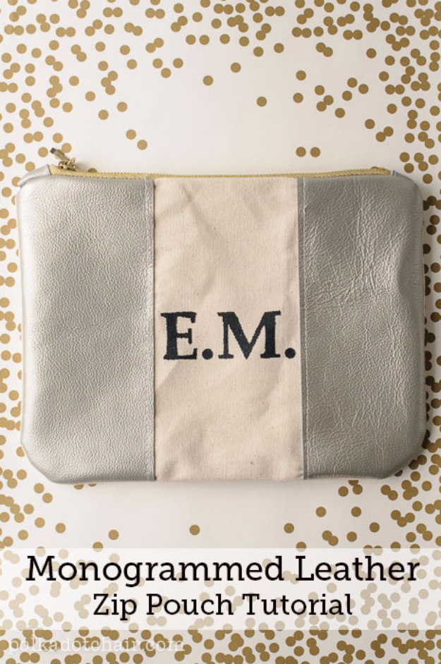 DIY Gifts for Dad - Monogrammed Leather Dopp Kit Tutorial - Best Craft Projects and Gift Ideas You Can Make for Your Father - Last Minute Presents for Birthday and Christmas - Creative Photo Projects, Gift Card Holders, Gift Baskets and Thoughtful Things to Give Fathers and Dads #diygifts #dad #dadgifts #fathersday