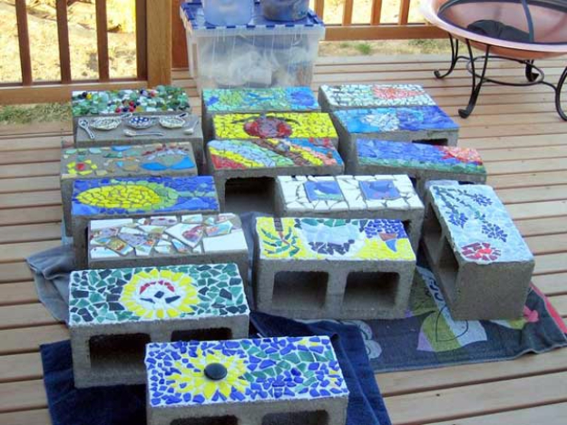 DIY Projects Made With Broken Tile - Mosaic Concrete Blocks - Best Creative Crafts, Easy DYI Projects You Can Make With Tiles - Mosaic Patterns and Crafty DIY Home Decor Ideas That Make Awesome DIY Gifts and Christmas Presents for Friends and Family http://diyjoy.com/diy-projects-broken-tile