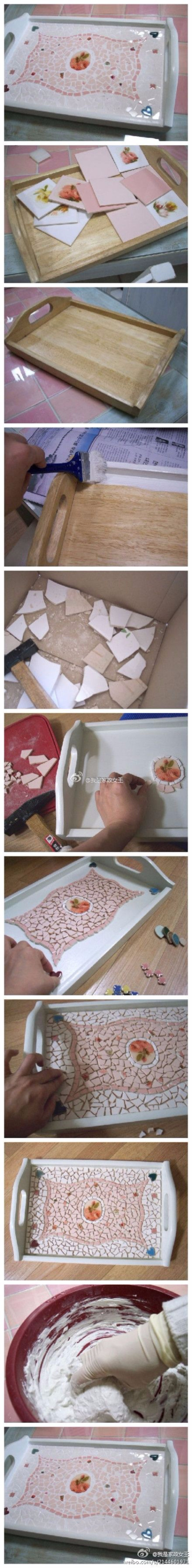 DIY Projects Made With Broken Tile - Mosaic Tray - Best Creative Crafts, Easy DYI Projects You Can Make With Tiles - Mosaic Patterns and Crafty DIY Home Decor Ideas That Make Awesome DIY Gifts and Christmas Presents for Friends and Family http://diyjoy.com/diy-projects-broken-tile