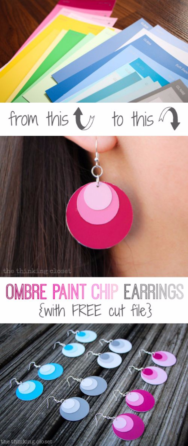 DIY Projects Made With Paint Chips - Ombre Paint Chip Earrings - Best Creative Crafts, Easy DYI Projects You Can Make With Paint Chips - Cool Paint Chip Crafts and Project Tutorials - Crafty DIY Home Decor Ideas That Make Awesome DIY Gifts and Christmas Presents for Friends and Family #diy #crafts #paintchip #cheapcrafts