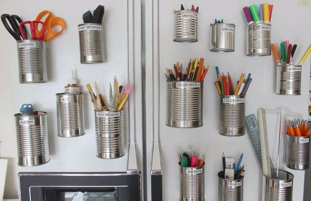 DIY Crafting Hacks - Organize With Tin Cups - Easy Crafting Ideas for Quick DIY Projects - Awesome Creative, Crafty Ways for Dollar Store, Organizing, Yarn, Scissors and Pom Poms