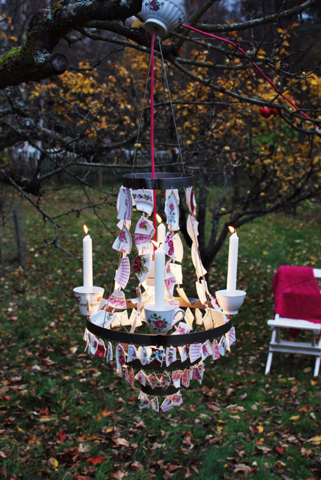 DIY Projects Made With Broken Tile - Outdoor Chandelier - Best Creative Crafts, Easy DYI Projects You Can Make With Tiles - Mosaic Patterns and Crafty DIY Home Decor Ideas That Make Awesome DIY Gifts and Christmas Presents for Friends and Family
